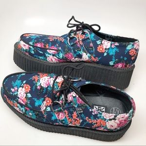 TUK Floral Creepers Platform Shoes